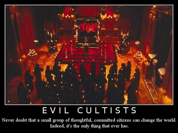 "Evil Cultists: I created this image on a whim, somewhat in honor of the evil cult that we're fighting against in a Dungeons and Dragons campaign I'm involved in. The main photo is a still from the movie ""The Ninth Gate."""