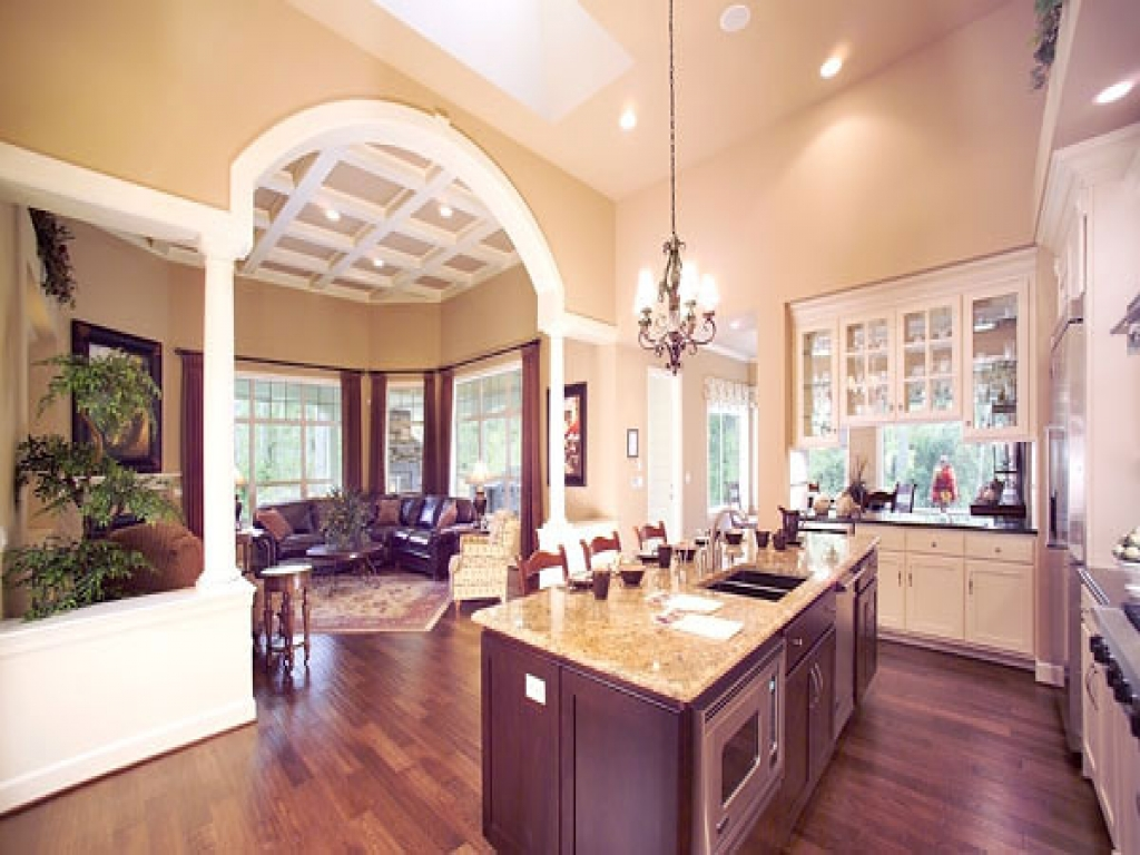 Open Floor House Plans With Large Kitchens Small Open