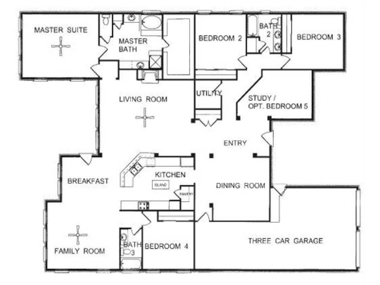 3-Story Townhome Floor Plans One Story Open Floor House