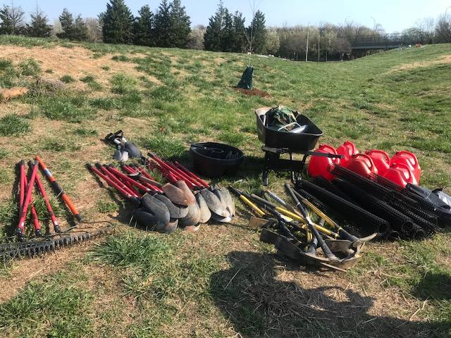 Tools await tree planters in Ben Brenman Park on April 14. Photo by Tåsi Ada.
