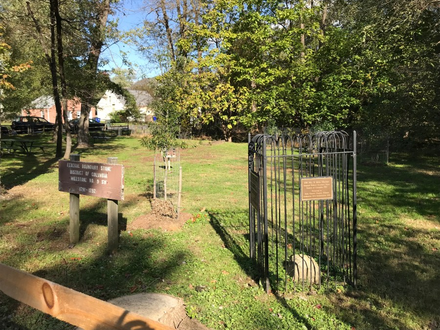 "Do you ""collect"" Boundary Stones marking the former border of the District of Columbia? Here's one you won't want to miss: No. 9 SW, in the Falls Church portion of Benjamin Banneker Park. It's just steps from where Tree Steward trainees will be planting 600 saplings on Saturday, Nov. 10 and Wednesday, Nov. 14. Come out, help plant trees, and collect a Boundary Stone!"