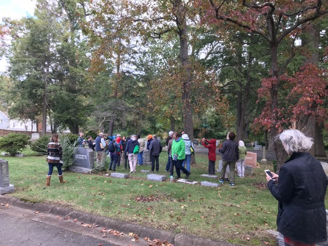 Tree Stewards and trainees photograph and admire trees on a walk at Ivy Hill Cemetery on Oct. 28th.