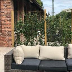 Lounge soffor ute med parasoll och grill