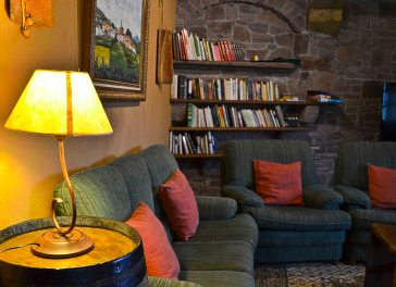 A cosy book corner in the dining room