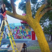 Artist Louise Fowler-Smith and Turmeric painted Tree