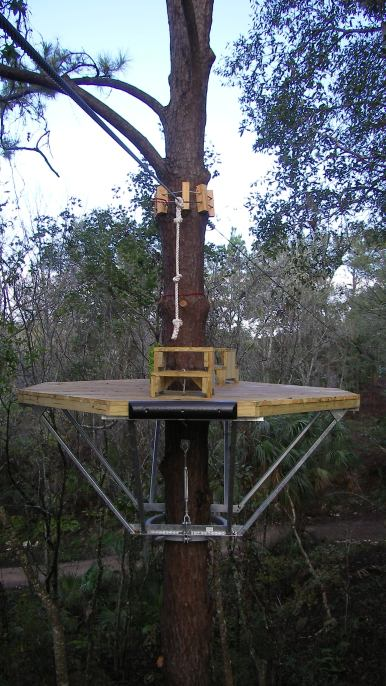 Patented Geronimo Platform Kit installed on a tree