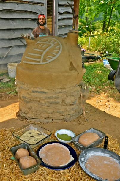 Turkey Cob Oven with pizza ingredients, Treasure Lake, Kentucky, USA, 2012