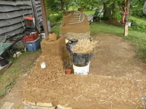 Turkey Cob Oven with rocket stove and bench Treasure Lake, Kentucky, USA, 2013