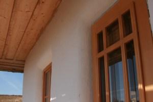 Strawbale plastered walls close up.