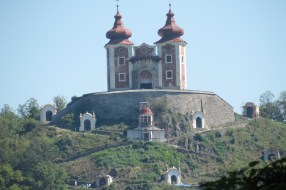 view of castle in the distance in Banska Stiavnica