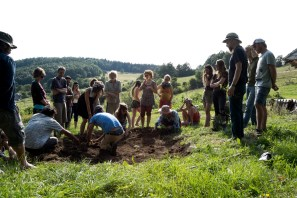 examining the tree planting terrace, a small scale earthwork in Slovakia, photo by Leigh Vukov
