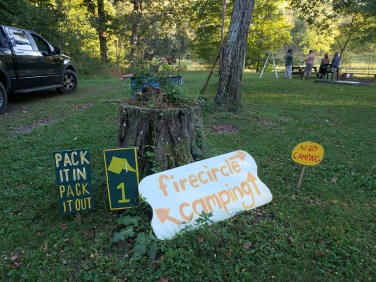camping signs ready for our treasure fest event, 2018