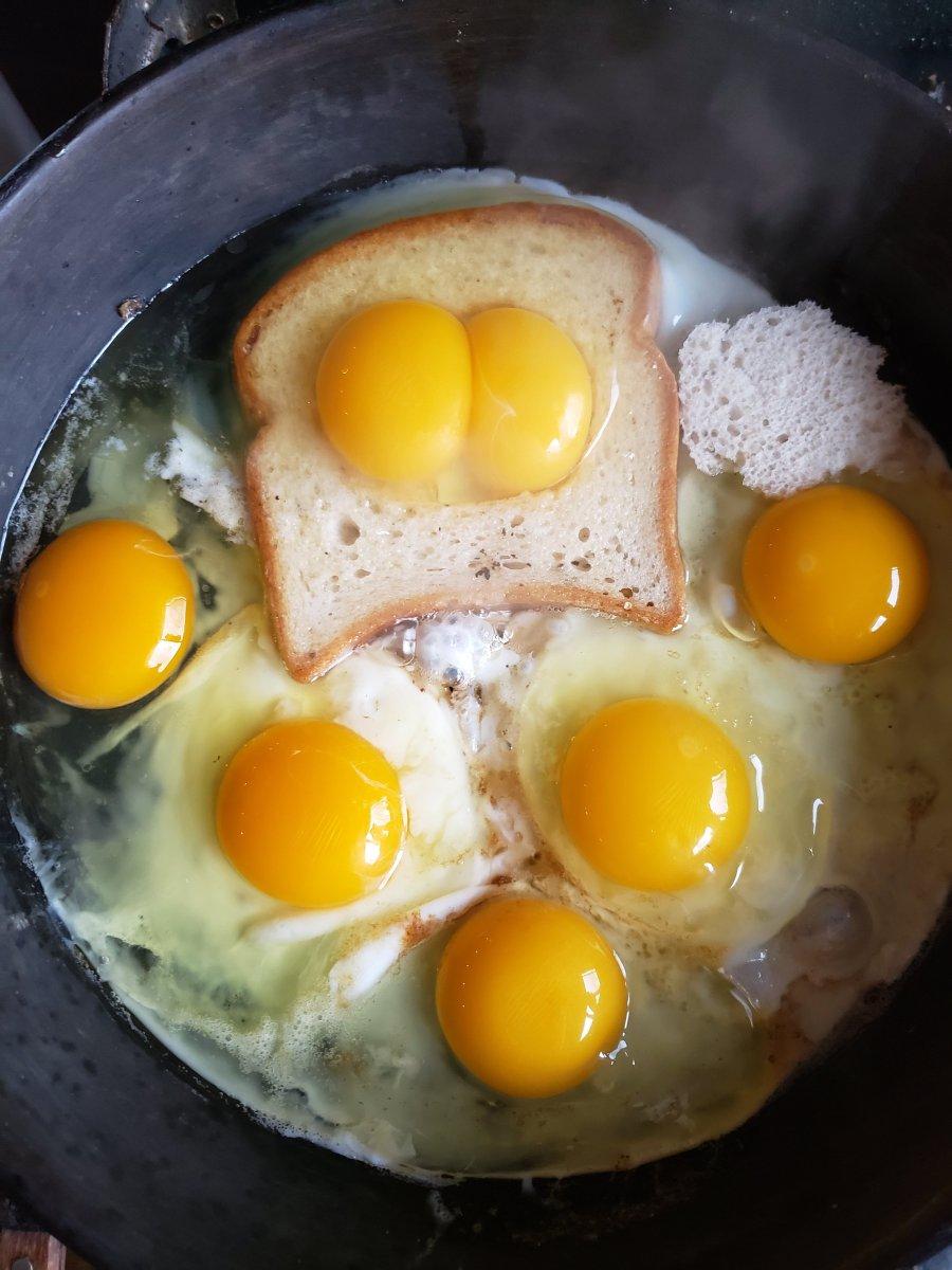 """Double yolk """"Eggs in a basket"""""""