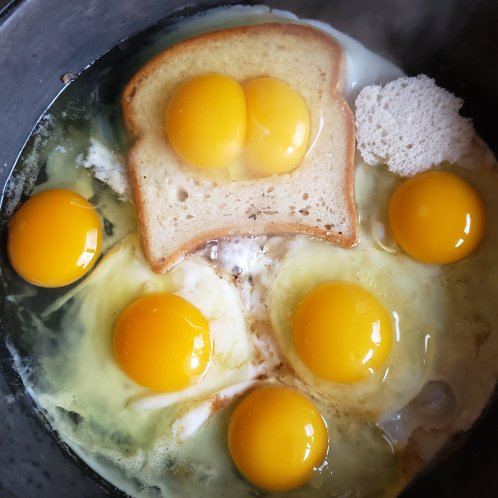 "Double yolk ""Eggs in a basket"""