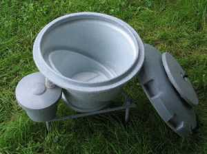 Biopod TM, a modern maggot bucket system that facilitates ease of harvest.