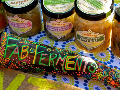 Fab Ferments table at a summer farmers Market in Cincinnati, Ohio, USA