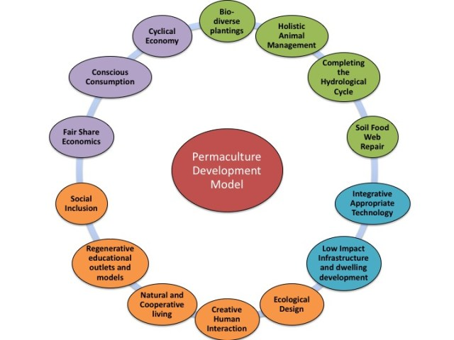 Permaculture Development Model- green Environmental, blue- Built Environment, Orange-social factors, and Purple- Economic Environment