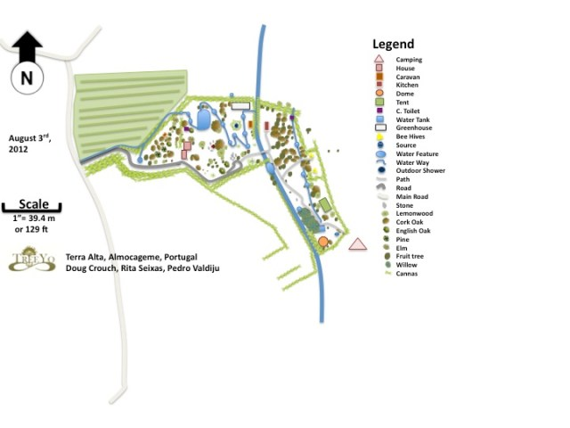 Base map showing the sinuous shape of the channels and polls circulating through the left part of the design at Terra Alta