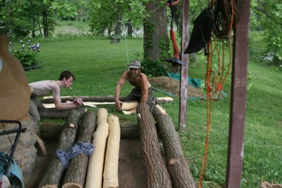stripping black locust poles at treasure lake
