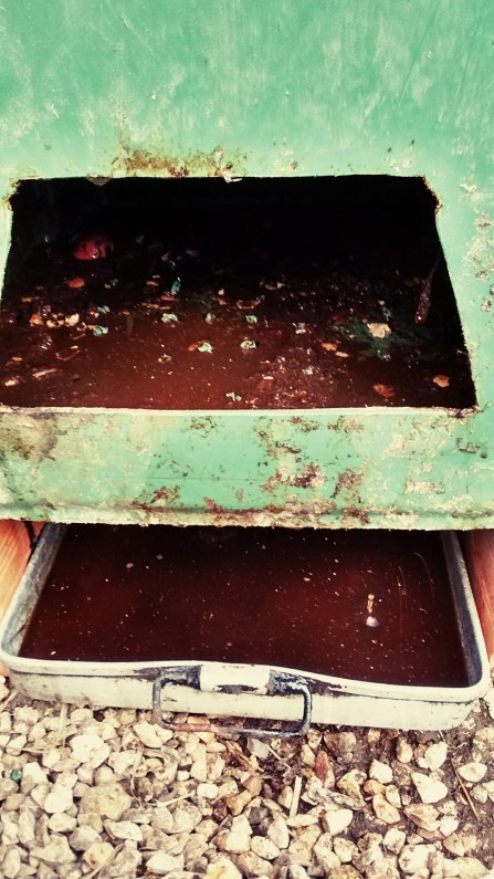 tray above is where solid is harvested. This bin had holes drilled in the bottom of the bin and leak liquid downward. photo shows water just being poured in to harvest a compost extract.