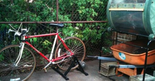 Bike powered compost sifter,