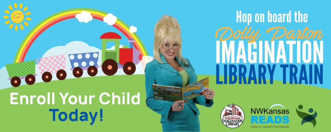 imagination library train with logos