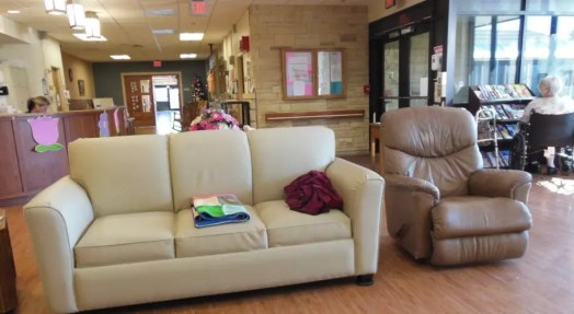 Trego Hospital Endowment Foundation provides new furniture for Long Term Care living room lounge