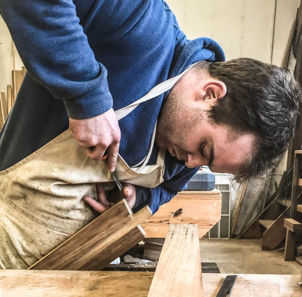 Sam Moore, Joinery apprentice hard at work in the joinery department