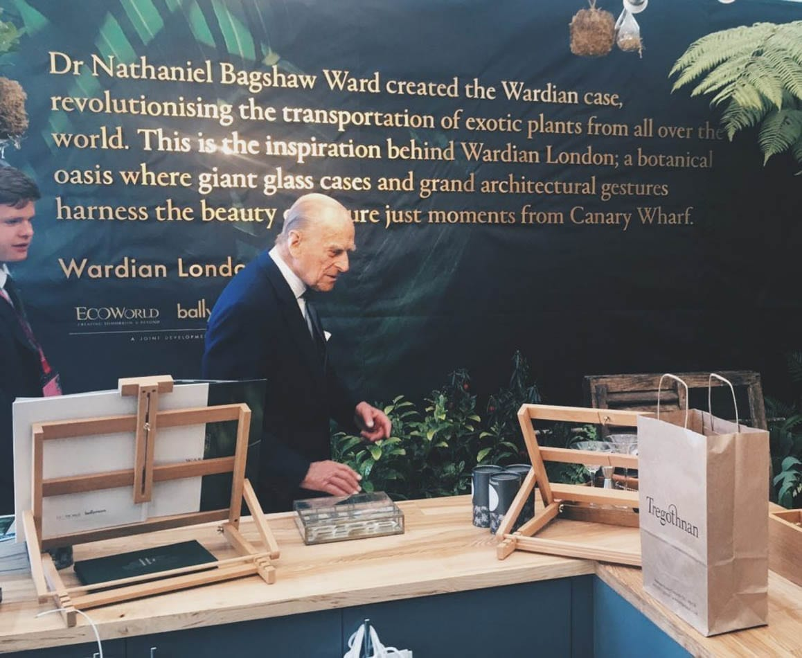 HRH Prince Philip visiting Tregothnans Tea Stand at RHS Chelsea Flower Show 2017