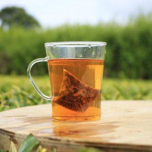 english breakfast pyramid brewed in a tea garden