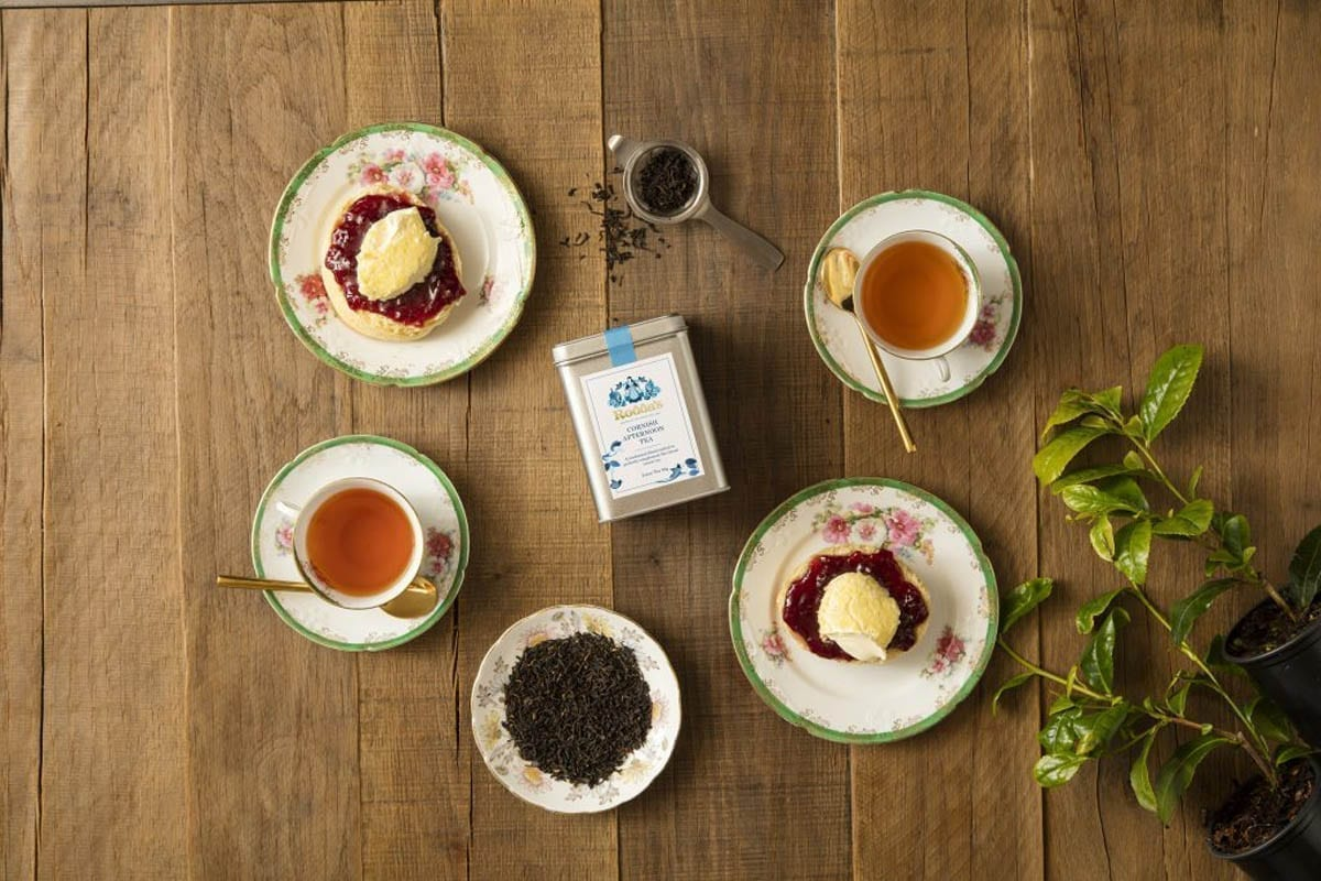 A Home Made Cream Tea with a cup of Cornish Afternoon Tea