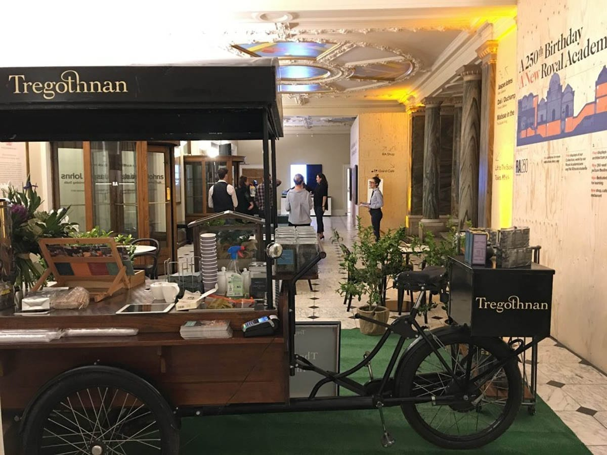 The famous Tea Trike ready for business inside The Royal Academy