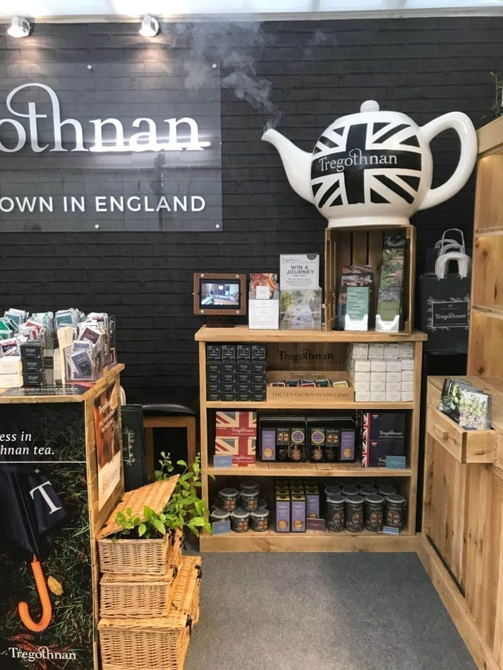 Tregothnan's Tea Stand at the RHS Chelsea Flower Show 2019 with a smoking tea pot