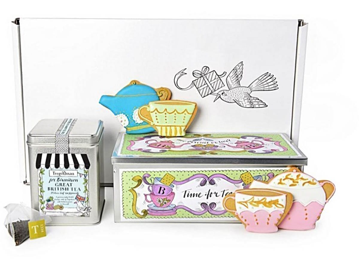 A tin of Tregothnans Biscuiteers Great British Tea and hand piped Biscuits made by Biscuiteers