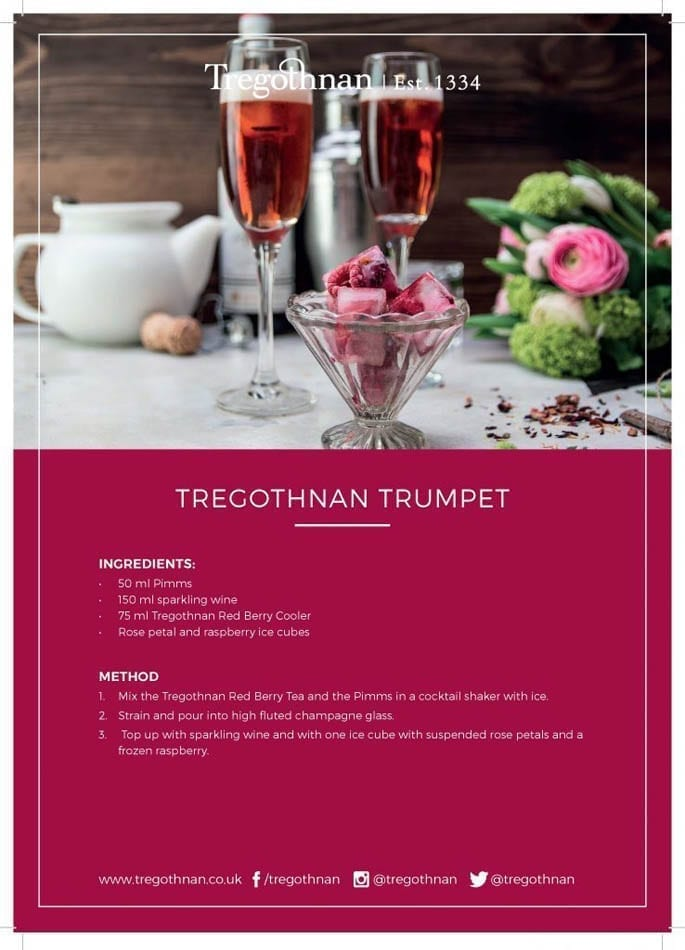 Tregothnan Trumpet Iced Tea British Red Berry Summer Time Drink Recipe Card