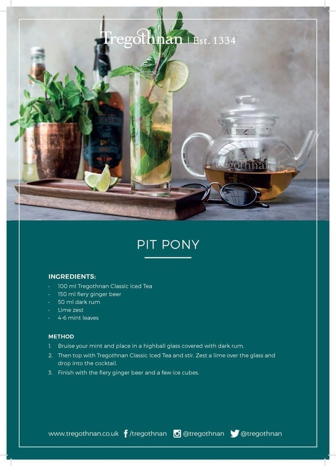 Tregothnan Pit Pony Iced Tea Cocktail recipe card