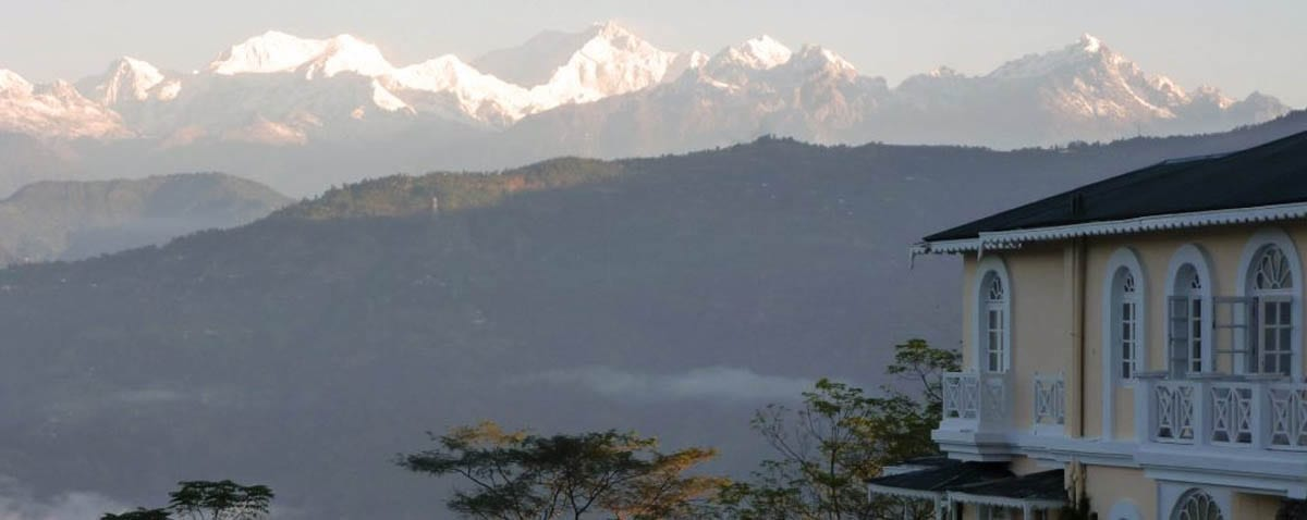 A Beautiful View of a Mountain range from Glenburn's Tea Estate in Darjeeling, India.