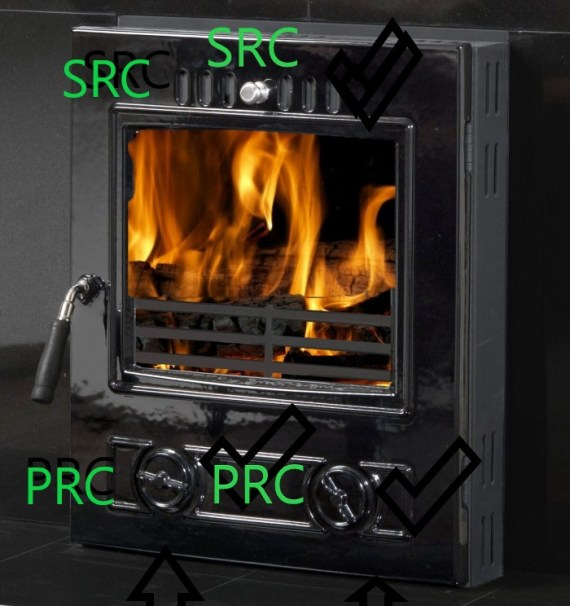 multi fuel burner showing SRC & PRC annotated in green   Multi Fuel or Wood Burning stove