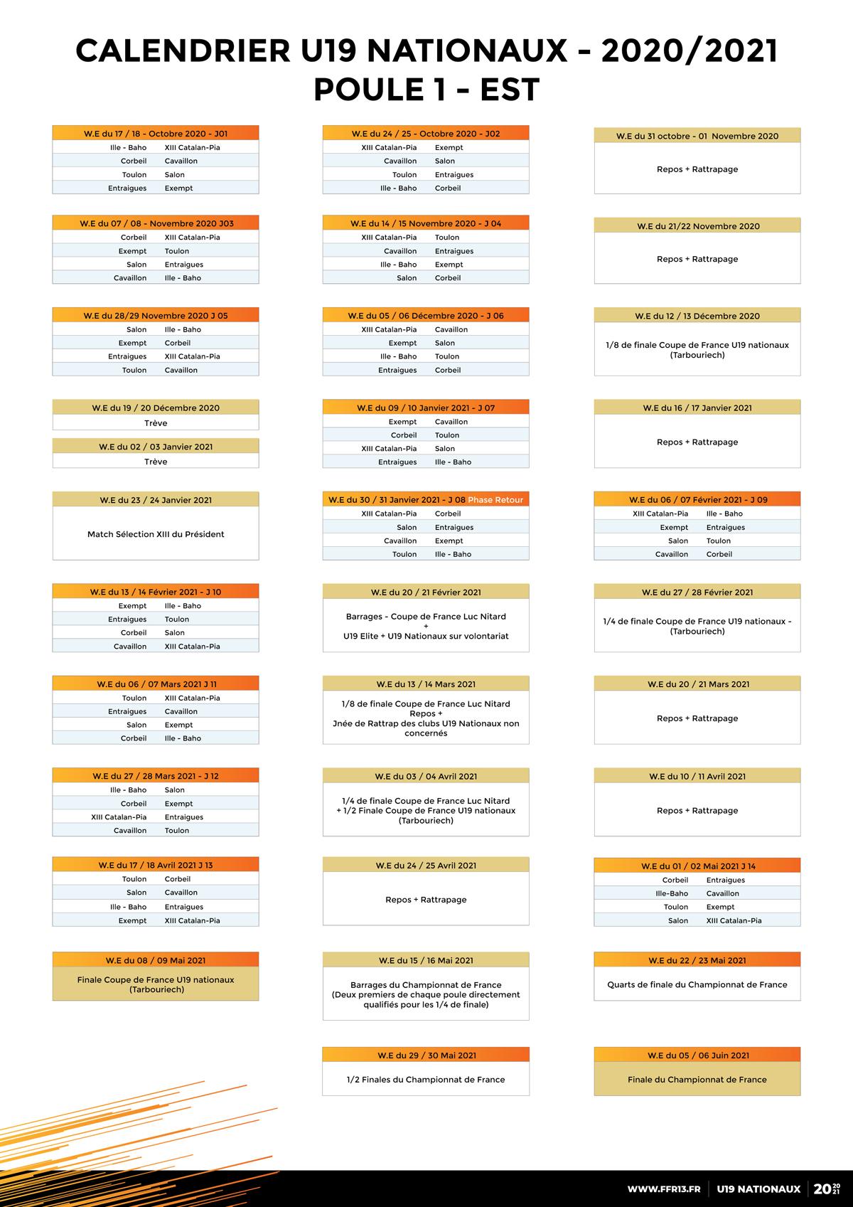 Jean Ribul Calendrier 2022 Calendrier U19 Nationaux 2021 2022   calendrier jun 2021