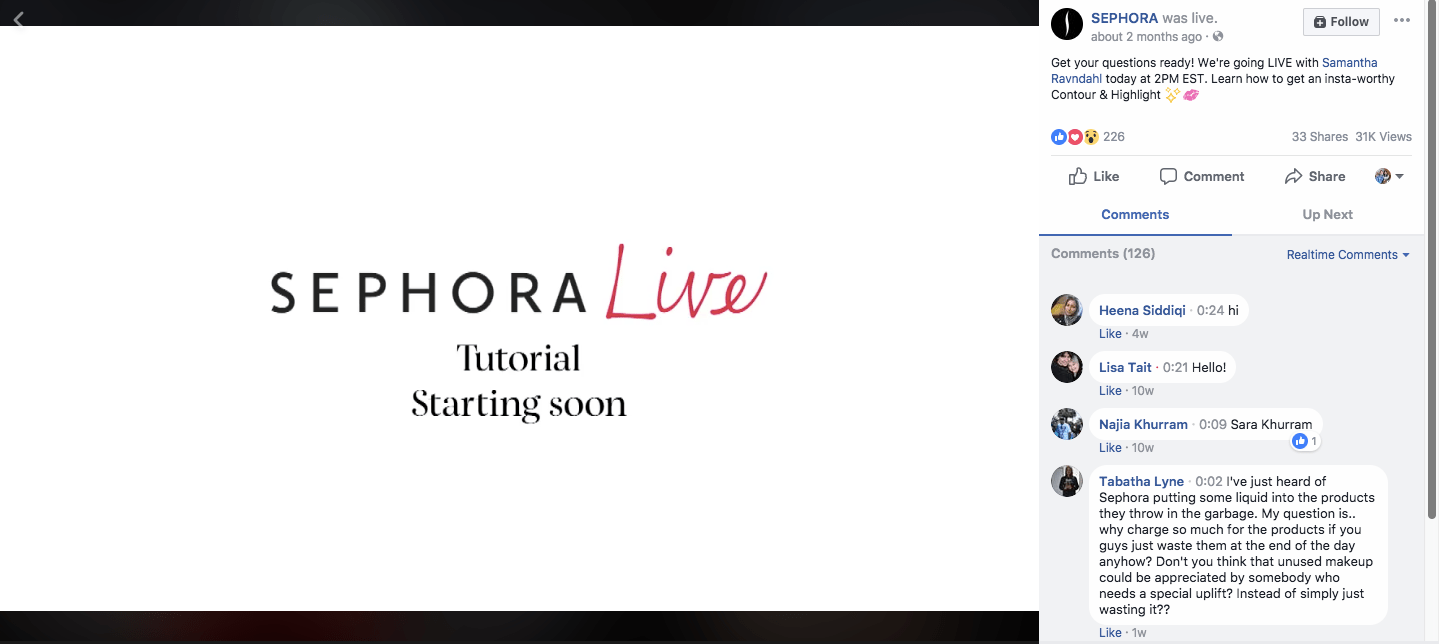 Sephora increase facebook engaegment