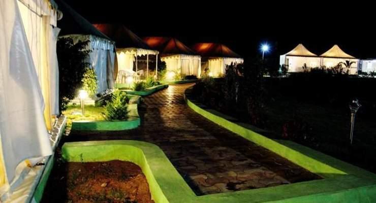 Beautiful night view United-21 Tiger Camp Resort, Tadoba, India