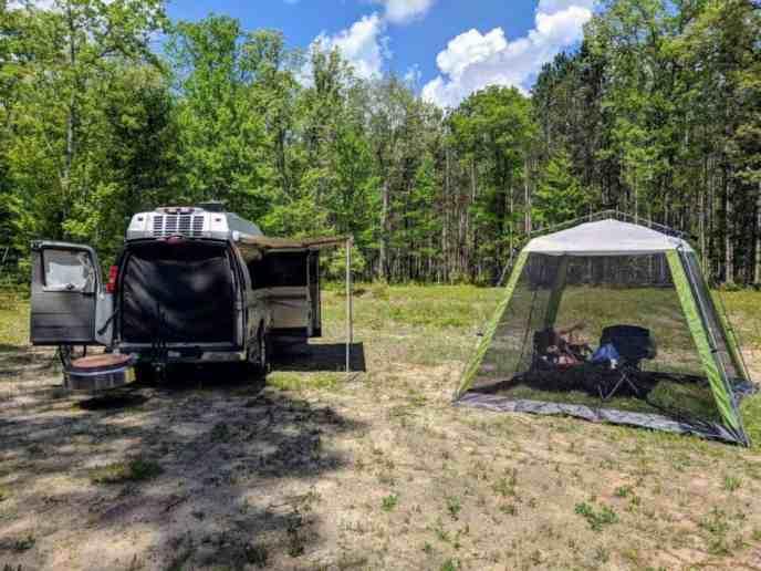 campervan in field