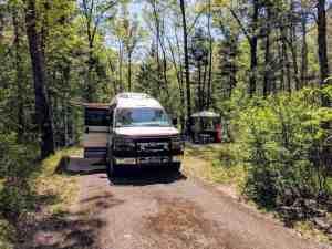 Van in campsite