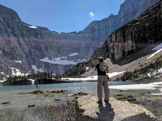 girl at mountain lake