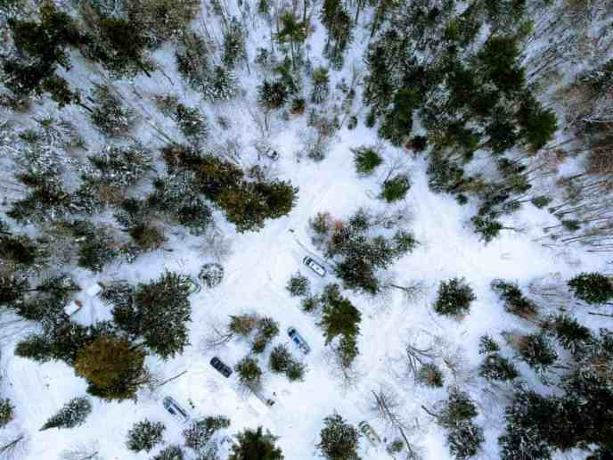 campsites at a state park seen from a drone
