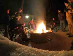 campfire on a winter's night in a state park