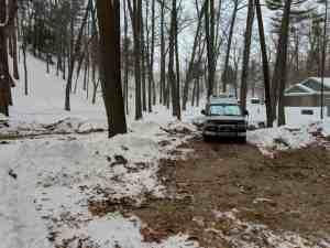 Class B RV in winter campsite