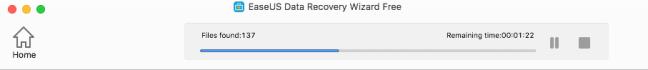 EaseUS Data Recovery Wizard buscando archivos