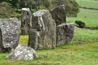 The smaller recumbent alter stone of the Drombeg Stone Circle
