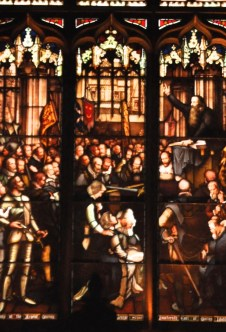 Detail of stained glass window - Knox preaching